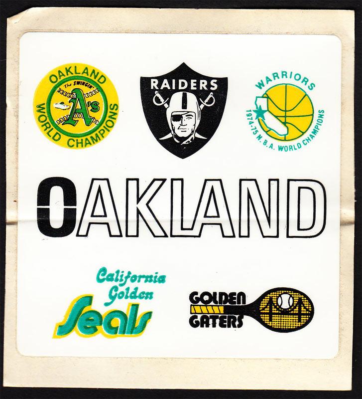 Oakland 1975 Teams A's Warriors Raiders Seals Golden Gaters Sticker