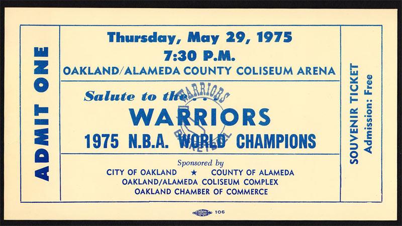 Golden State Warriors 5/29/1975 NBA Champions Souvenir Ticket Oakland Basketball Ticket