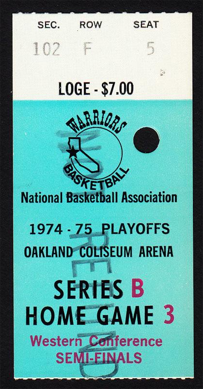 Golden State Warriors 1975 NBA Playoff Ticket VTG Oakland - Rick Barry Basketball Ticket
