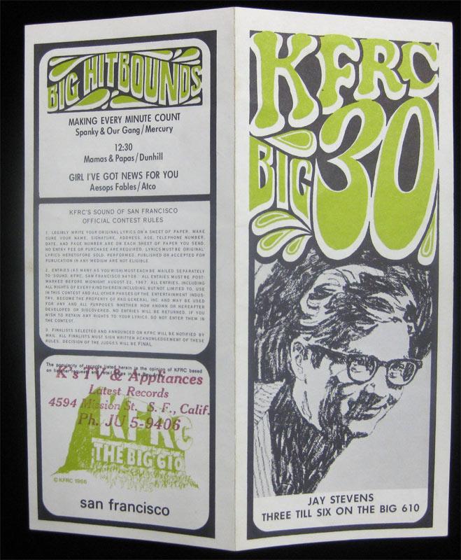 KFRC Big 30 8/16/1967 Radio Survey