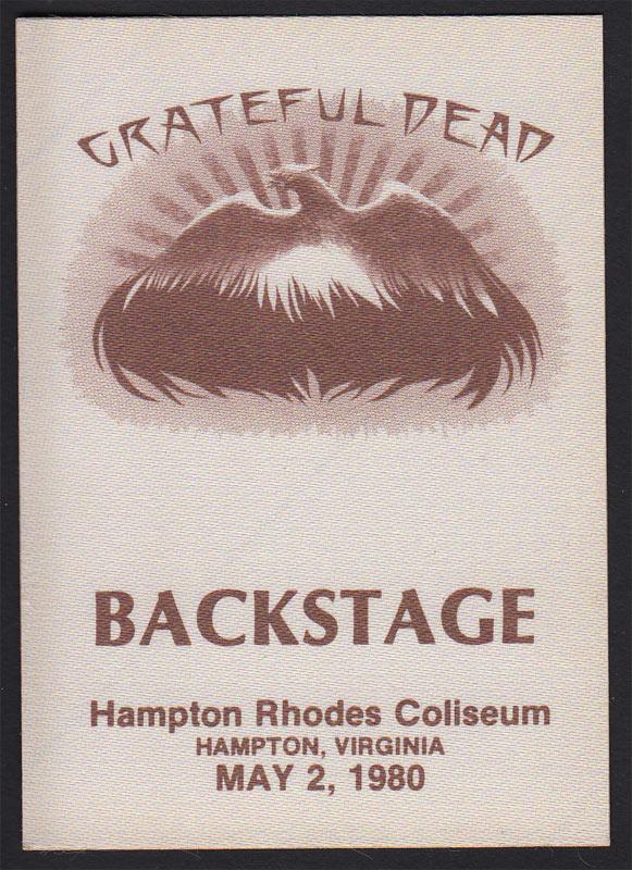 grateful dead unused hampton rhodes coliseum va backstage pass garcia
