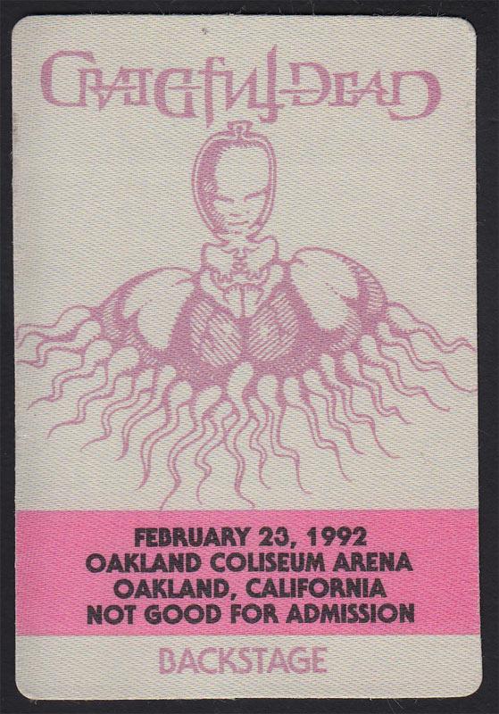 Rick Griffin Grateful Dead 2/23/1992 Oakland Backstage Pass