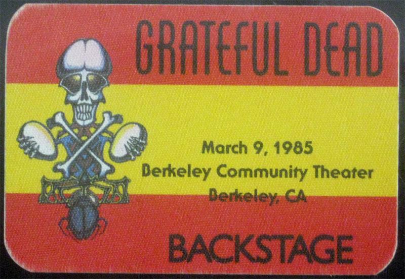 Rick Griffin Grateful Dead 3/9/1985 Berkeley CA Backstage Pass