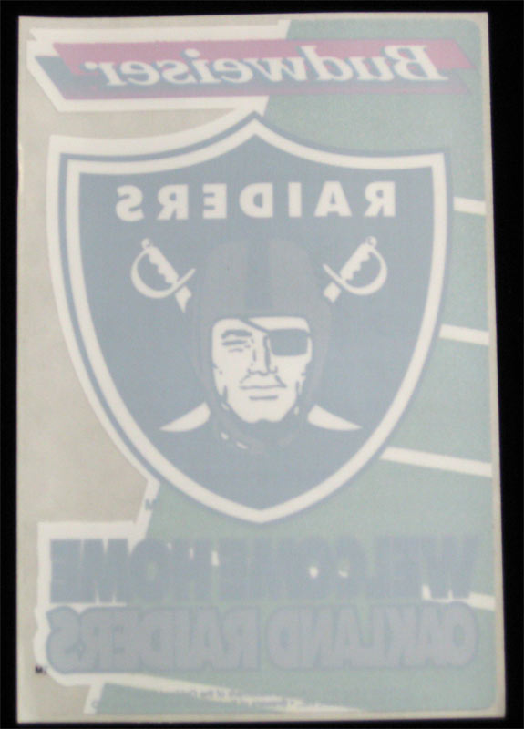 Oakland Raiders Welcome Home 1995 Budweiser Promo Window Cling Decal