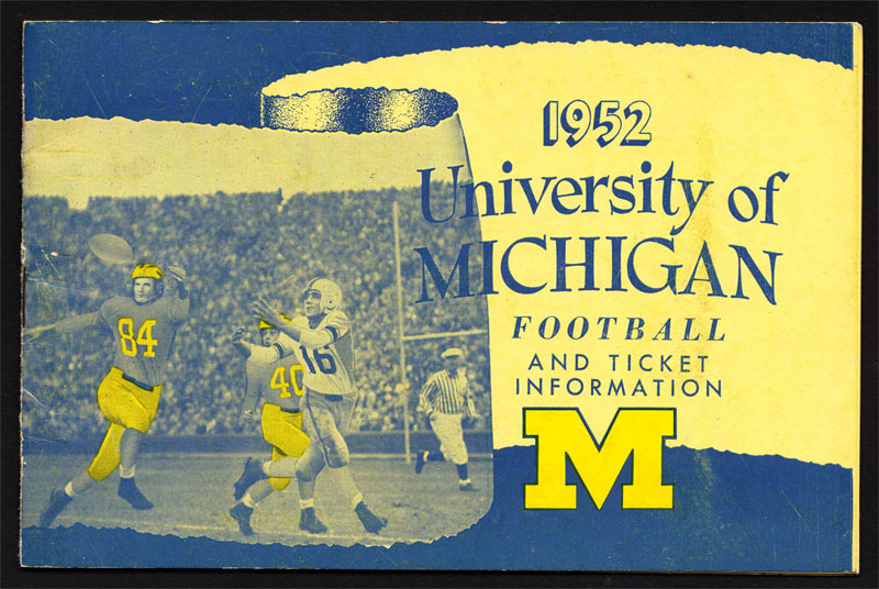 University of Michigan Wolverines 1952 Football Ticket Info Media Guide
