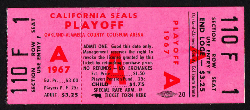 California Seals 1967 Playoff Game A Ticket Hockey Ticket