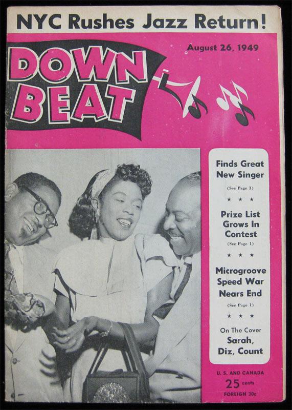 Details about Down Beat Jazz Magazine _ Aug 1949 - Dizzy Gillespie Sarah  Vaughan Count Basie
