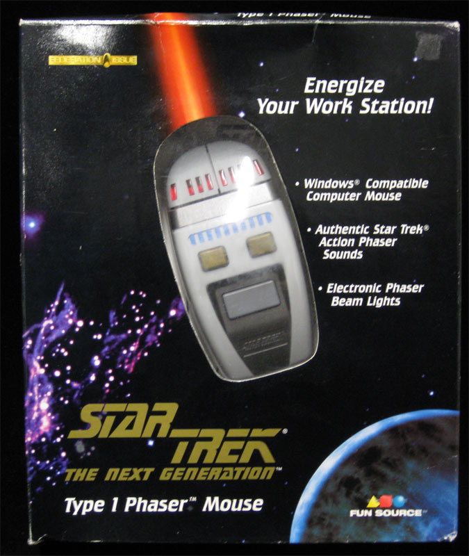 star trek tng type 1 electronic phaser computer mouse light beam