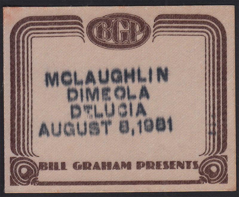 Al Di Meola John McLaughlin and Paco de Lucia Backstage Pass