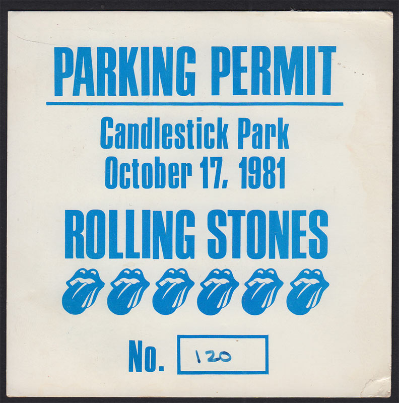 Rolling Stones Tattoo You Tour Parking Permit Backstage Pass