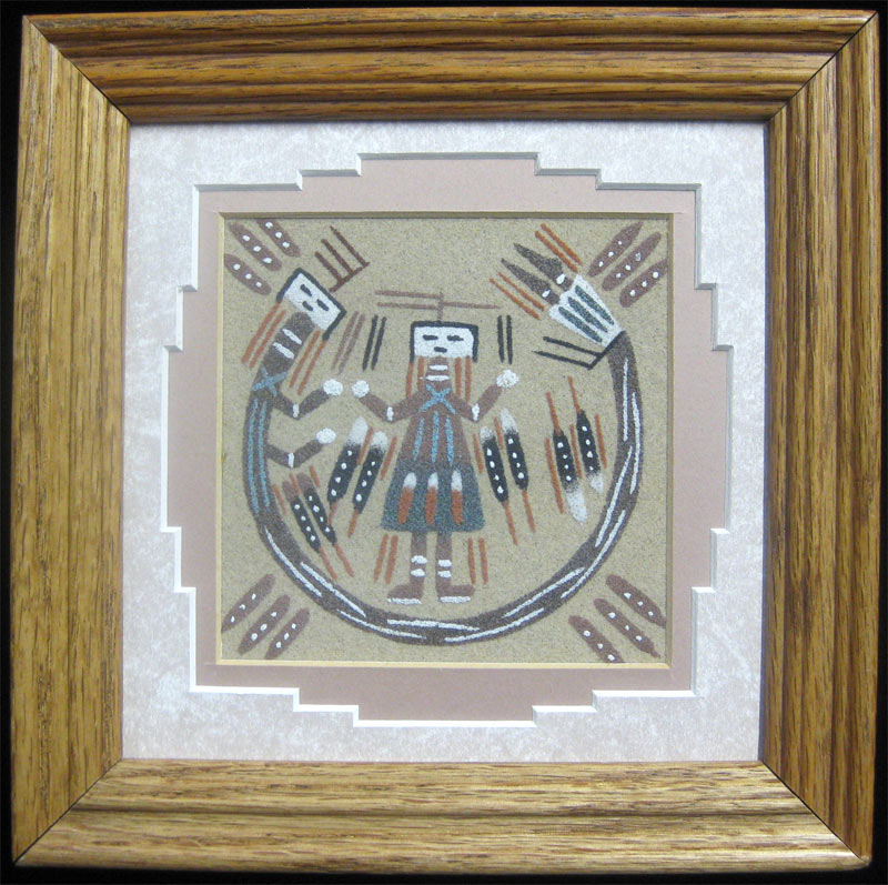 Authentic Navajo Sand Painting Vtg 7x7 Framed Native American