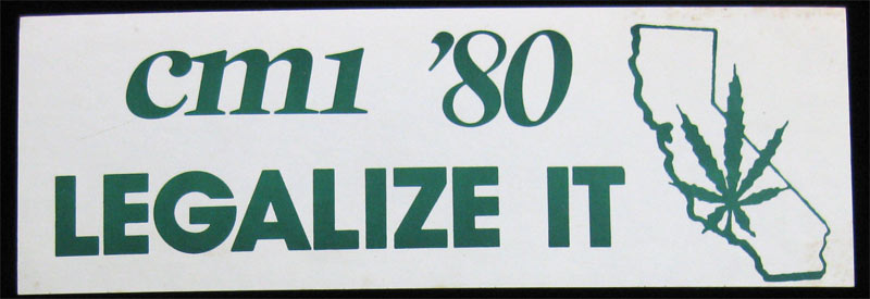 California Marijuana Initiative 1980 Bumper Sticker