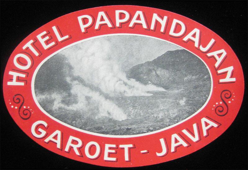 HOTEL PAPANDAJAN GAROET JAVA INDONESIA VINTAGE LUGGAGE LABEL