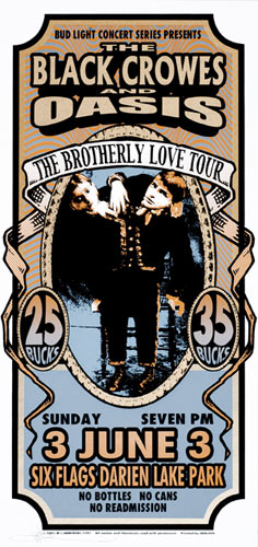 Mark Arminski Black Crowes and Oasis Poster