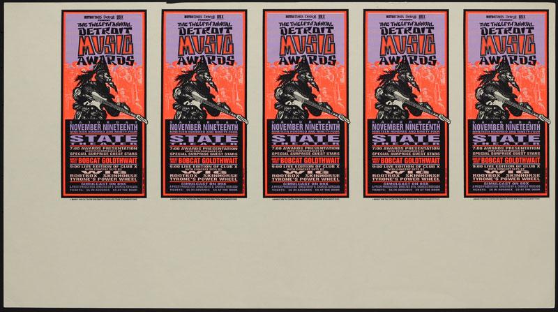 Mark Arminski Detroit Music Awards Uncut Handbill Sheet