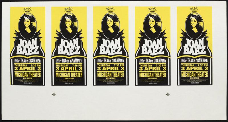 Mark Arminski Joan Baez Uncut Handbill Sheet