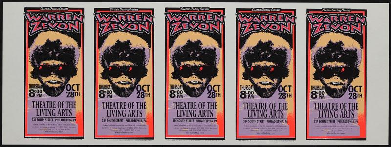 Mark Arminski Warren Zevon Uncut Handbill Sheet