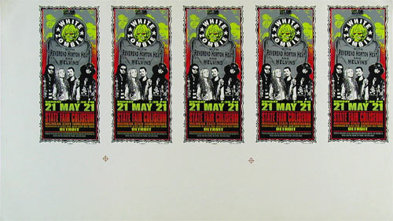 Mark Arminski White Zombie Uncut Handbill Sheet