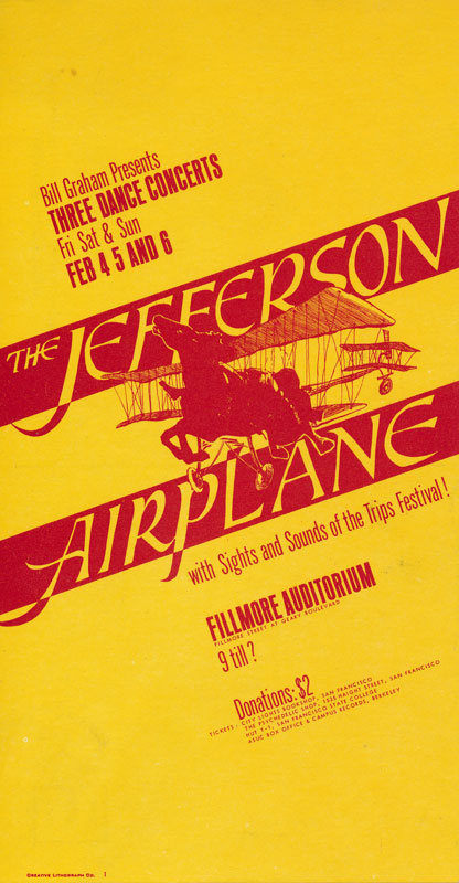 BG # 1 Jefferson Airplane Fillmore postcard - stamp back BG1