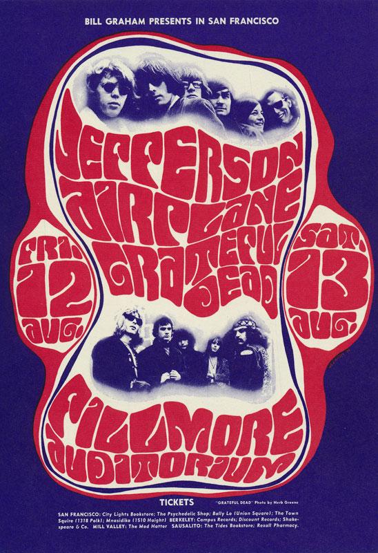 BG # 23 Jefferson Airplane Fillmore postcard - stamp back BG23