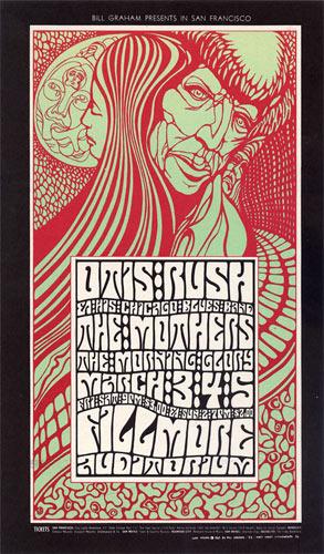 BG # 53 Otis Rush Fillmore postcard - stamp back BG53