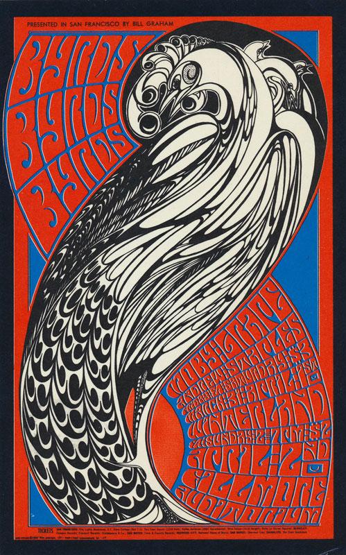 BG # 57-1 Byrds Fillmore postcard - stamp back BG57