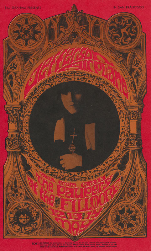 BG # 63 Jefferson Airplane Fillmore postcard - stamp back BG63