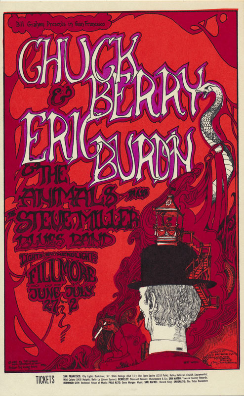 BG # 70 Chuck Berry Fillmore postcard - stamp back BG70