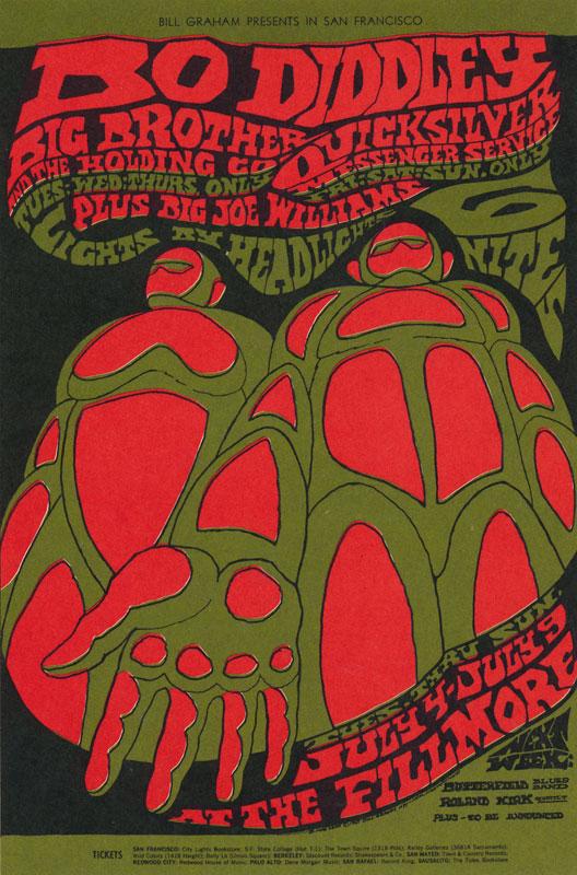 BG # 71 Bo Diddley Fillmore postcard - stamp back BG71