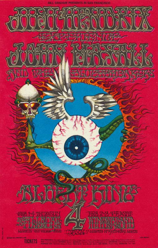 BG # 105 Jimi Hendrix Experience Fillmore postcard BG105