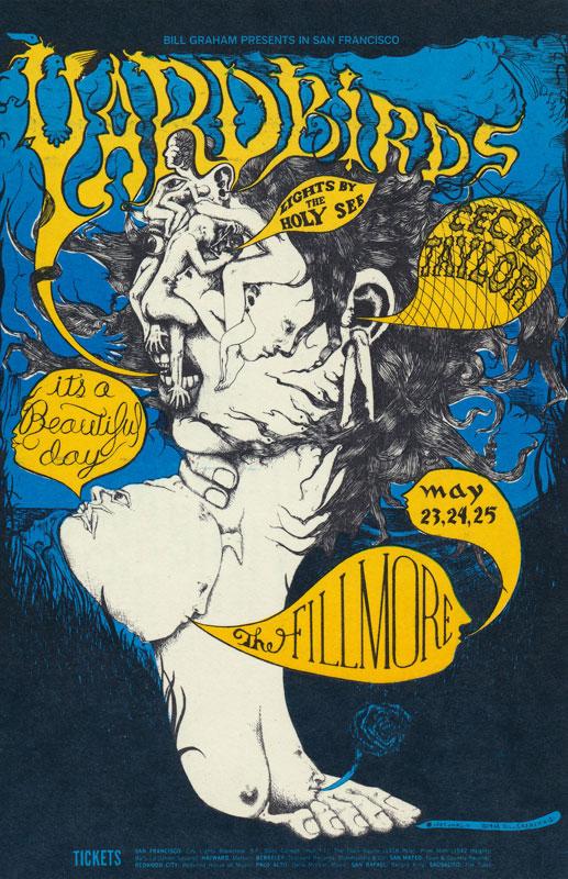 BG # 121 Yardbirds Fillmore postcard - stamp back BG121