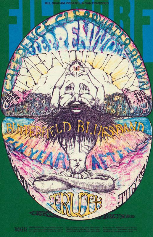 BG # 127 Creedence Clearwater Revival Fillmore postcard - ad back BG127