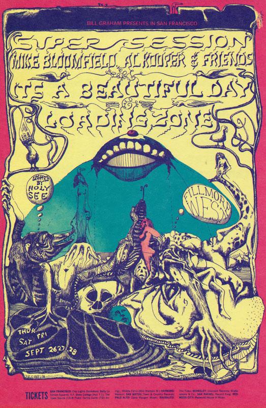 BG # 138 Super Session: Mike Bloomfield - Al Kooper Fillmore postcard - ad back BG138