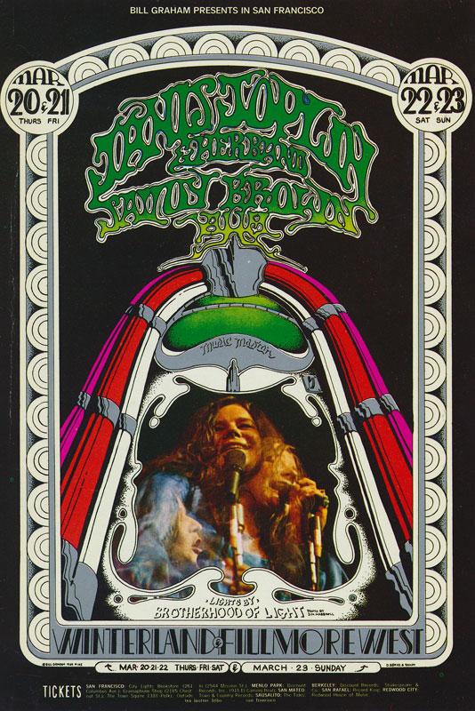 BG # 165 Janis Joplin & Her Band Fillmore postcard - ad back BG165