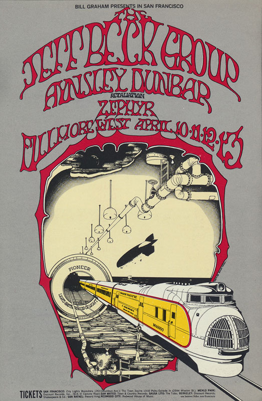 BG # 168-1 Jeff Beck Group Fillmore Poster BG168