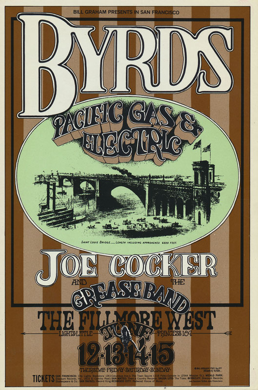 BG # 177 Byrds Fillmore postcard - ad back BG177