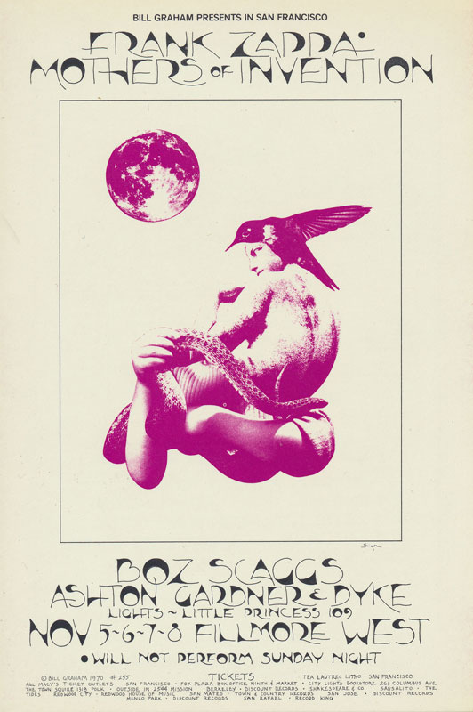 BG # 255 Frank Zappa Fillmore postcard - ad back BG255