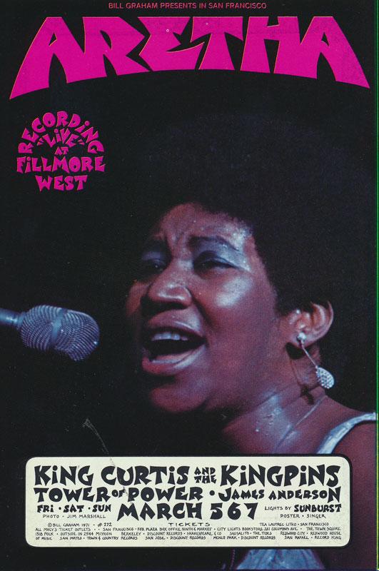 BG # 272 Aretha Franklin Fillmore postcard - ad back BG272