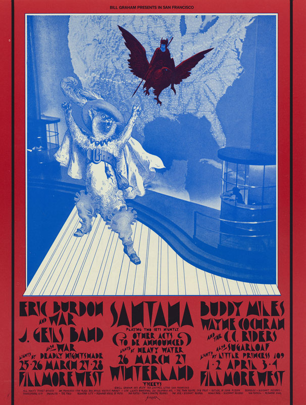 BG # 275 Eric Burdon and War Fillmore postcard - blank back BG275