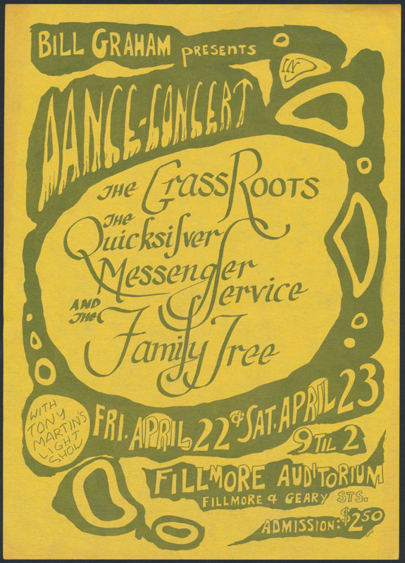 BG # 0 The Grass Roots Fillmore Handbill BG0