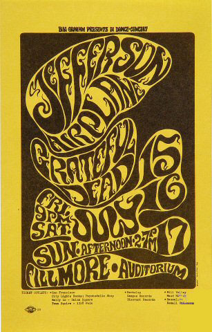 BG # 17 Jefferson Airplane Fillmore Handbill BG17