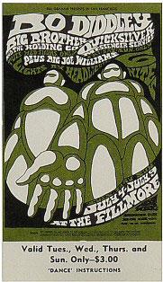 BG # 71 Bo Diddley Fillmore Wednesday - Sunday ticket BG71
