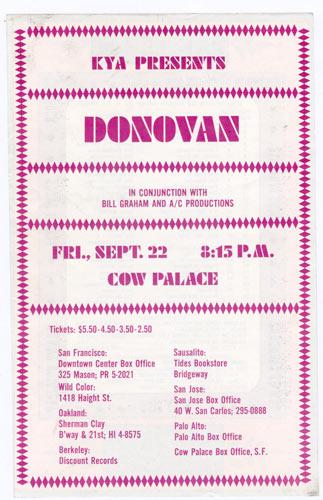 BG # 86alt Donovan Fillmore handbill BG86alt