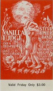 BG # 101 Vanilla Fudge Fillmore Friday ticket BG101