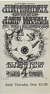 BG # 105 Jimi Hendrix Experience Fillmore Thursday ticket BG105