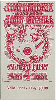 BG # 105 Jimi Hendrix Experience Fillmore Friday ticket BG105
