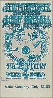 BG # 105 Jimi Hendrix Experience Fillmore Saturday ticket BG105