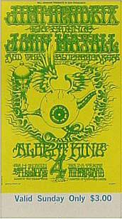 BG # 105 Jimi Hendrix Experience Fillmore Sunday ticket BG105
