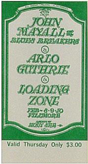 BG # 106 John Mayall & Blues Breakers Fillmore Thursday ticket BG106