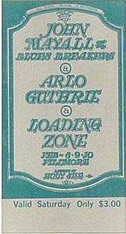 BG # 106 John Mayall & Blues Breakers Fillmore Saturday ticket BG106